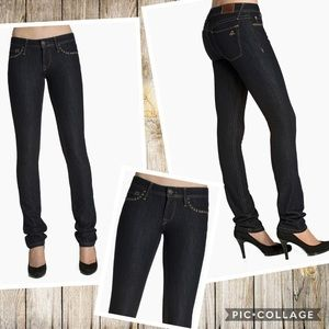 DL1961 Kate slim straight studded designer jeans